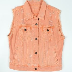 Distressed Denim Orange Button Up Vest Women's